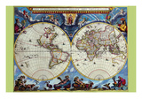 Stereographic Map of the World - Theatrum Orbis Terrarum Art by Joan Blaeu