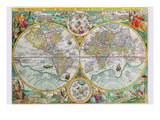 World Map Prints by Petrus Plancius