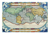 Typus Orbis Terrarum from the Theatre of the World in Apian Projection Prints by Abraham Ortelius