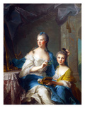 Madame Marsollier and Her Daughter Prints by Jean-Marc Nattier