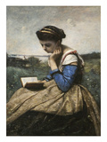 A Woman Reading Print by Jean-Baptiste-Camille Corot