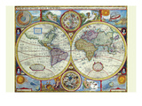 New and Accurate Map of the World; a Stereographic Projection Poster by John Speed