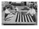 Flags Laid Out on Cutting Table to Be Sewn by Seamstresses During the Period of the Great War Posters