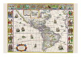 New Map of the Americas Premium Giclee Print by Willem Janszoon Blaeu