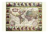Welt Karte von Lands and Waterways Poster von Nicolas Visscher