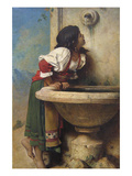 Roman Girl at a Fountain Posters by Leon Bonnat