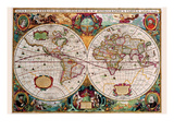 Stereographic Map of the World Premium Giclee Print by Jodocus Hondius