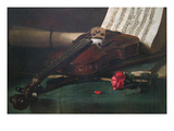 Still Life with Violin, Sheet Music and a Rose Premium Giclee Print by Francois Bonvin