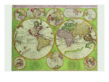Stereographic World Map with Insets of Polar Projections Prints by Vincenzo Coronelli