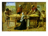 Christ on the House of His Parents Poster by John Everett Millais
