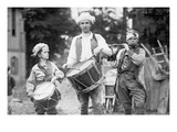 Three Boys March with Instruments on the 4th of July Celebration Poster