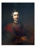 Portrait of a Man with a Magnifying Glass Posters by  Rembrandt van Rijn