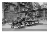Biplane with Spinning Propeller Is Towed Down Fifth Avenue New York for July 4th Parade Prints