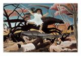 Sota Poster tekijänä Henri Rousseau