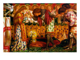 How Sir Galahad, Sir Bors and Sir Percival Were Fed with the Sanc Grael Premium Giclee Print by Dante Gabriel Rossetti