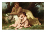Young Woman Contemplates Twp Embracing Infants Prints by William Adolphe Bouguereau