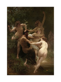Nymphes et satyre Poster par William Adolphe Bouguereau