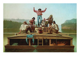 Jolly Flatboatmen Poster by George Caleb Bingham