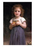 Little Girl Holding Apples in Her Hands Posters by William Adolphe Bouguereau
