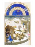 Le Tres Riches Heures Du Duc De Berry - February Plakaty autor Paul Herman & Jean Limbourg