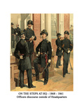 On the Steps at Hq - 1868 - 1861 - Officers Discourse Outside of Headquarters Print by Henry Alexander Ogden