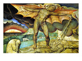 Satan Smiting Job with Sore Boils Kunstdrucke von William Blake