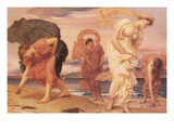 Greek Girls Picking Up Pebbles by the Sea Posters by Frederick Leighton