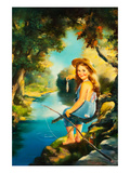 Little Girl Fishing Prints by Maxine Stevens