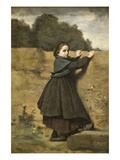 Curious Little Girl Posters by Jean-Baptiste-Camille Corot