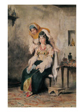 Saada, the Wife of Abraham Benchimol, and Préciada, One of their Daughters, 1832 Posters by Eugene Delacroix