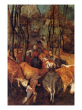 Reentry of Herds in Autumn - Detail Posters by Pieter Breughel the Elder