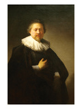 Portrait of a Man in a Lace Ruff Probably of the Berestyn Family Print by  Rembrandt van Rijn