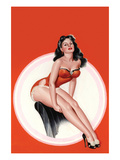 Eyeful Magazine; Brunette in a Red Bathing Suit Premium Giclee Print by Peter Driben