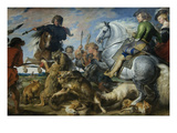 Wolf and Fox Hunt Print by Peter Paul Rubens (Workshop of)