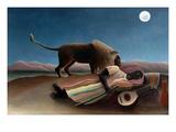 Sleeping Gypsy Kunst af Henri Rousseau