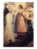 A Girl Feeding Peacocks Posters by Frederick Leighton