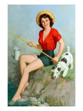 Girl Fishing Posters by Walt Otto