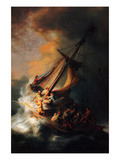 Christ in the Storm on the Lake Genezareth Art by  Rembrandt van Rijn
