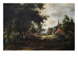 Entrada a un pueblo Lámina giclée premium por Meindert Hobbema