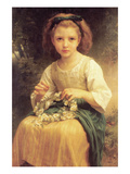 A Young Girl Braids a Garland Crown of Flowers Premium Giclee Print by William Adolphe Bouguereau