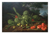 Still Life with Artichokes, Tomatoes in Landscape Art by Luis Egidio Melendez