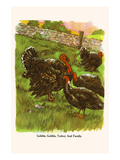 Gobble, Gobble Turkey and Family Print by  Bird & Haumann