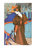 Woman with Peacocks Pôsteres por Alphonse Mucha