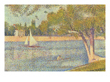 The Seine by the Island of Jatte in Spring Schilderijen van Georges Seurat