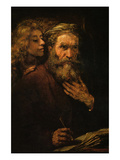 Evangelist Mathaus and Angel Prints by  Rembrandt van Rijn