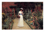 Lady in the Garden Affiches par Edmund Blair Leighton