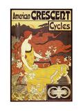 Bicicletas American Crescent Láminas por Alphonse Mucha