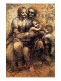 Mary, Christ, St. Anne and the Infant St. John Poster by  Leonardo da Vinci