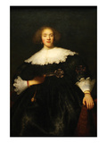 Portrait of a Seated Woman with Pendant Print by  Rembrandt van Rijn