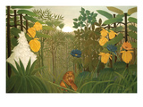Repast of the Lion Premium Giclee Print by Henri Rousseau
